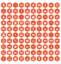 100 bakery icons hexagon orange vector