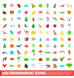 100 environment icons set cartoon style vector