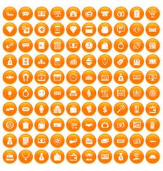 100 money icons set orange vector