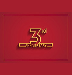 3 anniversary design with simple line style vector