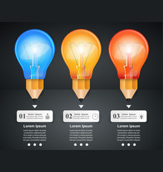 3d infographic bulb and pencil icon vector