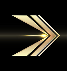 abstract gold arrow speed direction on black vector image