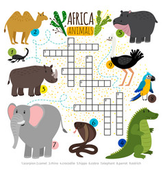 African safari animals crossword vector
