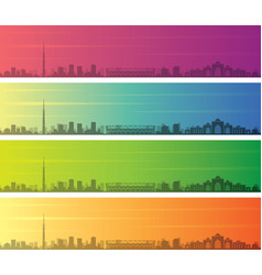 Ahmedabad multiple color gradient skyline banner vector
