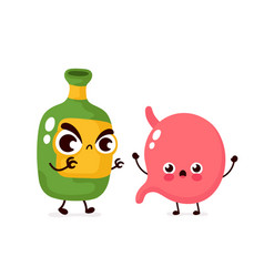 Angry scary alcohol bottle kill stomach vector