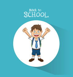 Back to school student boy happy bag tie and short vector