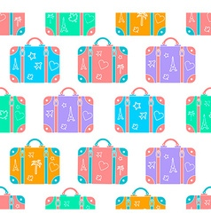 Background patterned travel suitcase in a flat vector