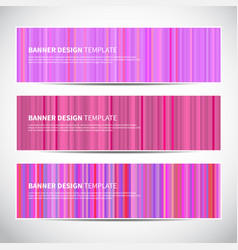 Banners or headers with pink striped colorful vector