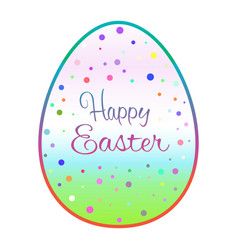beautiful outline easter egg with colored dots vector image vector image