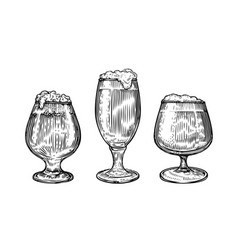 beer glass and mug in hand drawn style pub vector image