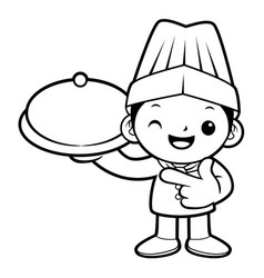 Black and white chef mascot holding a pot vector