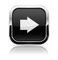 Black square button with white arrow vector