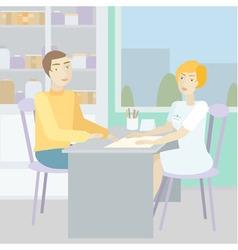 Blonde woman doctor advises a patient vector