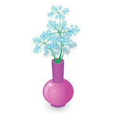 blue flowers vase vector image