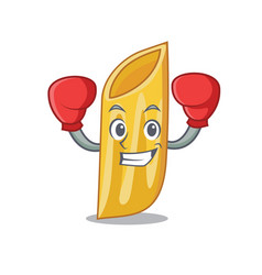 Boxing penne pasta character cartoon vector