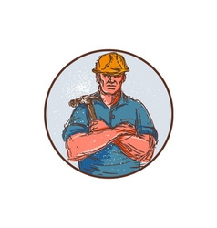 Builder Arms Crossed Hammer Circle Drawing vector image