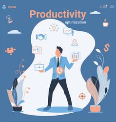 businessman and multitasking productivity vector image