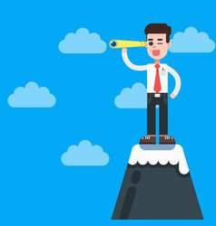 businessman on top of mountain with telescope vector image