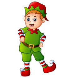 Cartoon christmas elf posing vector
