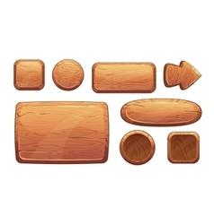 Cartoon wooden game assets vector image