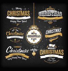 christmas and happy new year letteting in gold and vector image