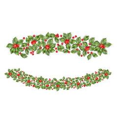 Christmas holly branch border eps 10 vector