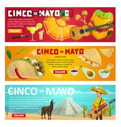 cinco de mayo greeting banner mexican holiday vector image