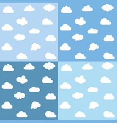 clouds kids seamless pattern set vector image