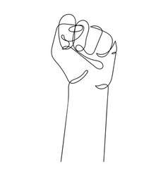 Continuous line drawing strong fist raised up vector