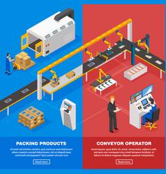 Conveyor line banners set vector