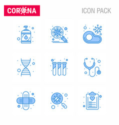Coronavirus prevention 25 icon set blue genome vector