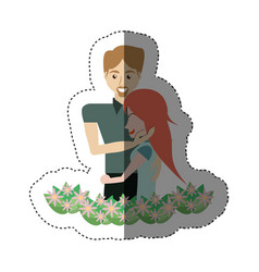 Couple together with flowers decoration shadow vector