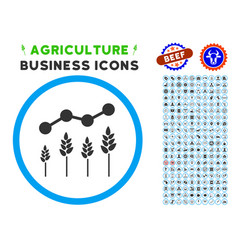 Crop analytics rounded icon with set vector