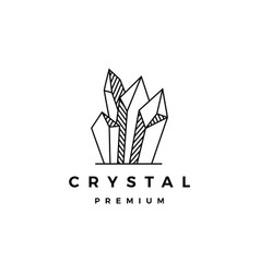 crystal gem stone logo icon vector image