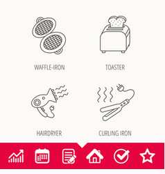 Curling iron hair-dryer and toaster icons vector