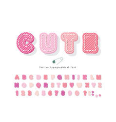 Cute cartoon pink font cotton texture alphabet vector