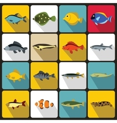 Cute fish icons set flat style vector image