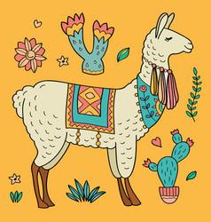 Cute llama and cacti vector