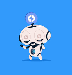 cute robot updating software isolated icon on blue vector image