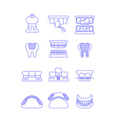 Dental clinic surgery services thin line icons vector