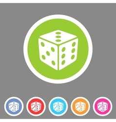 Dice game cube icon flat web sign symbol logo vector