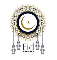 eid mubarak festival decoration background vector image