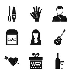 Enter into marriage icons set simple style vector
