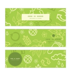 Environmental horizontal banners set pattern vector