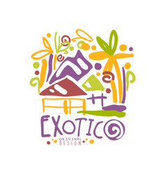 Exotic logo template original design summer vector