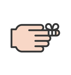 First aid icon finger with bandage filled outline vector