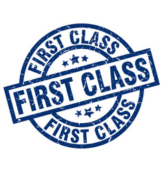 First class blue round grunge stamp vector