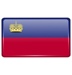 Flags Liechtenstein in the form of a magnet on vector image