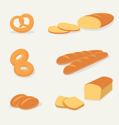 flat bread set with isolated backgroundfrench vector image