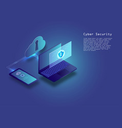 Flat isometric digital cyber security concept vector